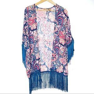 Wrangler Paisley Tassel Kimono Fringe Hem Size L